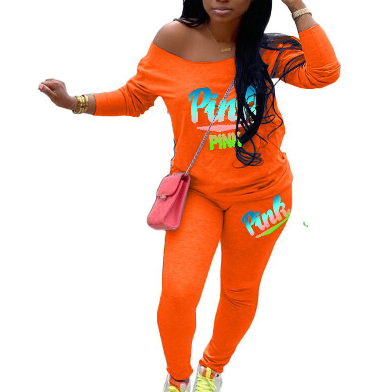 Women Sweatpant Two Piece Set Pink Letter Print Tracksuits Street Shirt Tops Jogger Suits Casual