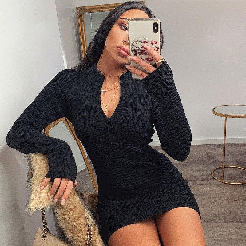 Women Winter Fall Bodycon Ribbed Dress New Stand Collar Zipper Deep V-neck Solid Stretch Bodycon Pencil Party Mini Vestido