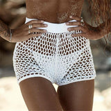 Women's Hollow Out Crochet Bikini Swimwear Cover Up Shorts High Waist Fishnet Hot Pants Sexy Bathing Beach Wear Solid Color