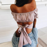 Bow Backless Top Women Fashion Ruffle Off Shoulder Tops Ladies Sexy Crop Tops Blusas