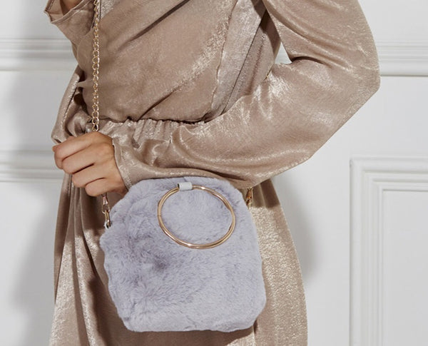 Robin Fur Bag in Grey