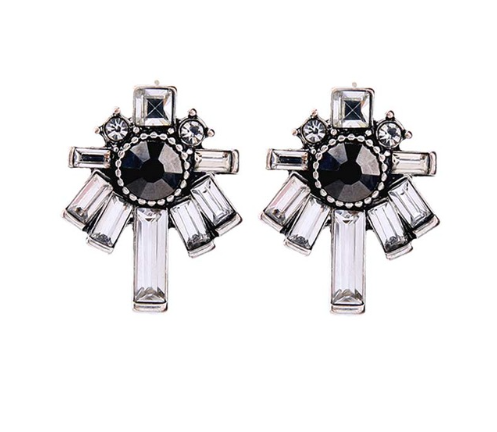 Silver and Black Cross Crystal Earrings Diamante Earrings Womens Earrings Brisbane Australia Gift
