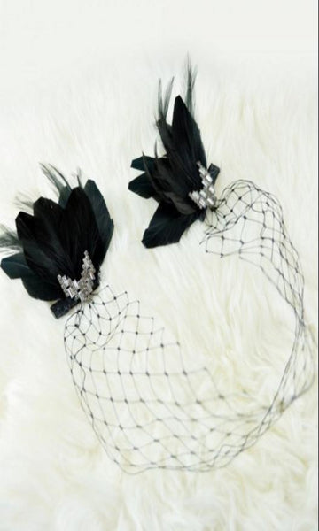 Beautiful Black Net Feather Diamante  Clips Headband