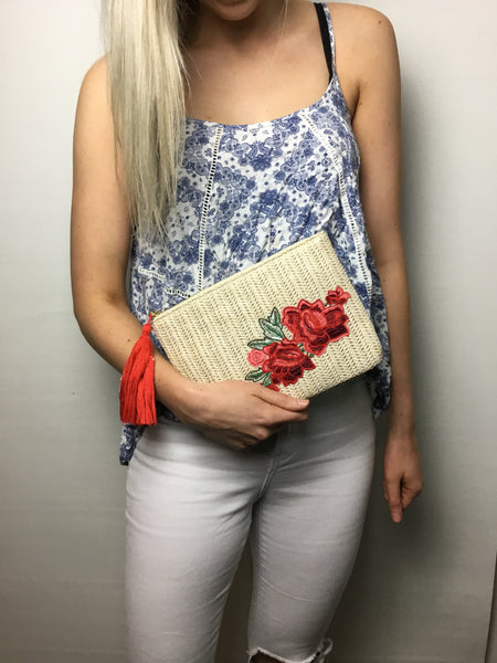 Embroidered Red Flowers Clutch