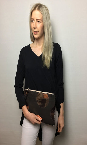 Large Spot High Shine Black and Rose Gold  Clutch