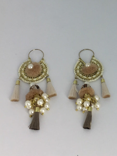 Tiered Pom Pom, Pearl & Tassel Earrings Cream