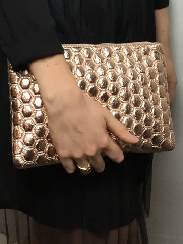 Metallic Hexagon Rose Gold Clutch