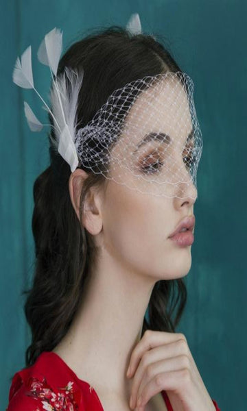 Beautiful Net Feather White Clip Headband