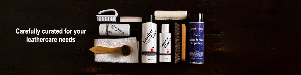 Best mix of leather care products including Apple Brand Leather Care, Leather Honey & Chamberlain's Leather Milk.