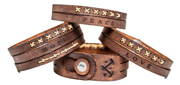 Hand made leather wrist band in Australia