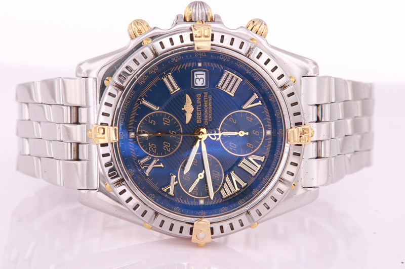 Breitling Crosswind Mens Automatic Chronograph Watch Blue Dial B13355 with Box & Papers