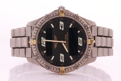 Breitling Aersopace Titanium & Gold Model F65362 with Papers Quartz Mens Watch