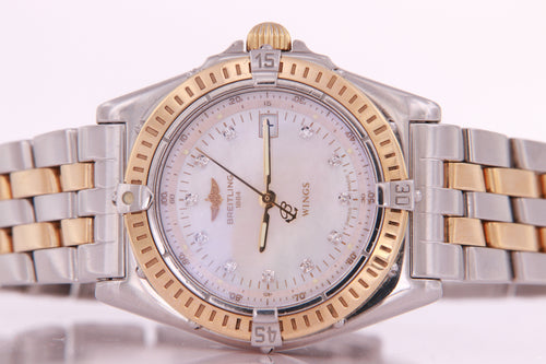 Breitling Wings Ladies Stainless Steel and Gold Diamond Watch Quartz with papers D67050
