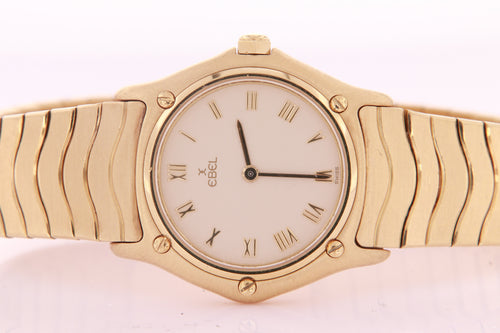 Ebel Classic Wave Ladies Watch 18 K Yellow Gold Quartz Ebel Watch Ref 2890