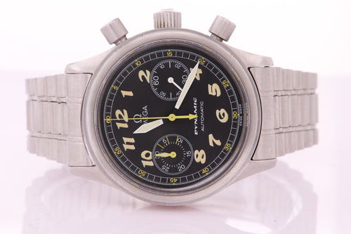 Omega Dynamic Chronograph Stainless Steel Automatic Mens Vintage Watch with Box