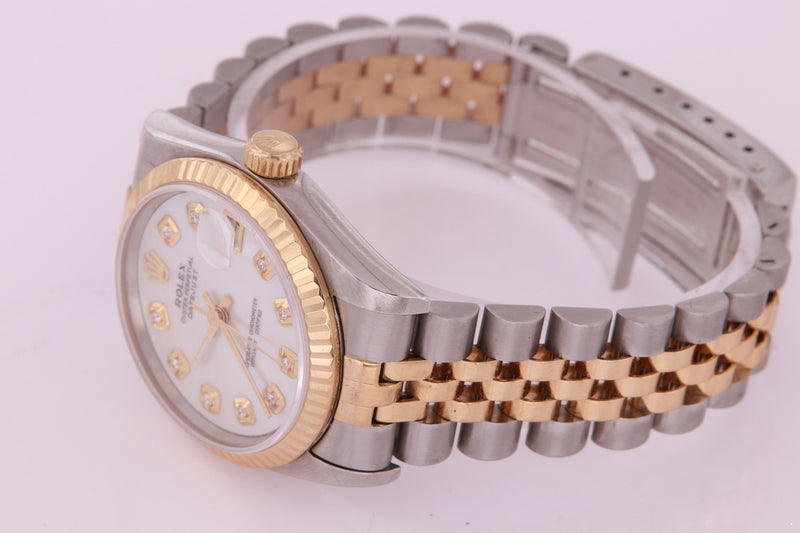 Rolex Datejust Ladies Midsize 31 mm Stainless Steel & Yellow Gold Mother of Pearl Diamond Watch
