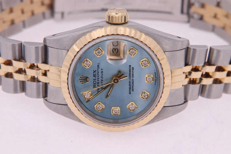 Rolex Datejust Ladies Stainless Steel & Yellow Gold Mother of Pearl Diamond Watch