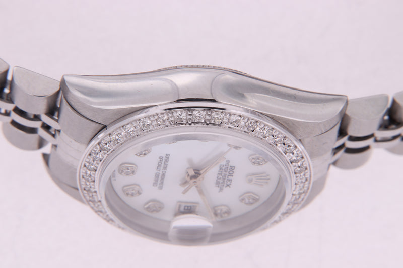 Rolex Datejust Ladies Stainless Steel Pearl Diamond Dial Diamond Bezel