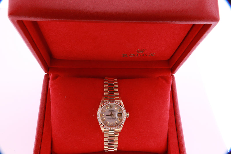 Rolex Datejust Ladies 18K Gold Automatic Mother of Pearl Diamond Dial Watch with Rolex Box 69268