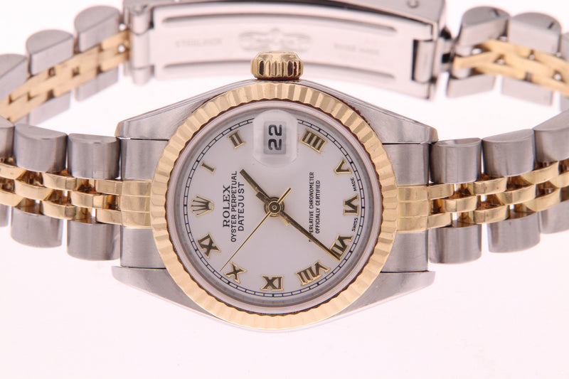 Rolex Datejust Ladies Stainless Steel & Yellow Gold with Roman Numerals 79173