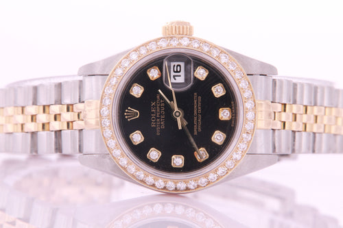 Rolex Datejust Ladies Stainless Steel & Yellow Gold 69173 Diamond Watch Black Factory Diamond Dial