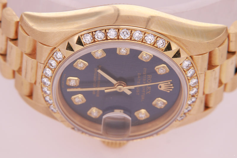 Rolex Datejust Ladies 18K Gold Automatic Blue Diamond Dial Watch with Rolex Box 69268