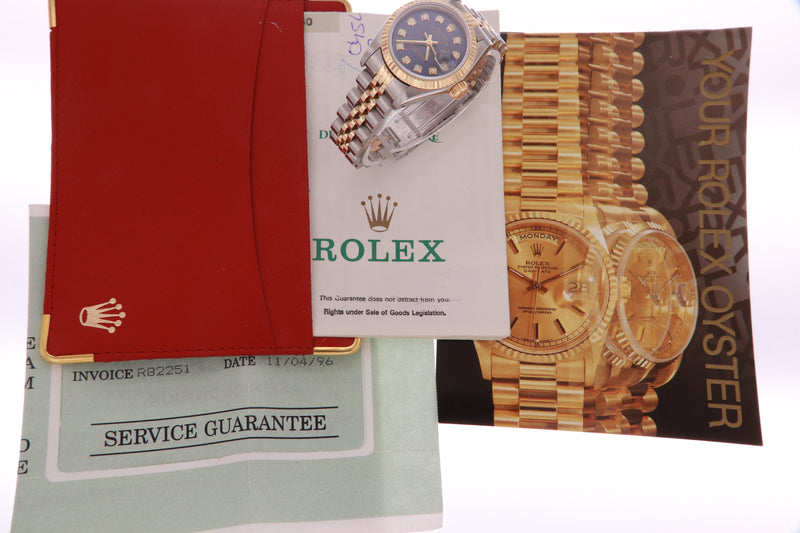Rolex Datejust Ladies Stainless Steel & Yellow Gold 69173 Diamond Watch Blue  with Papers