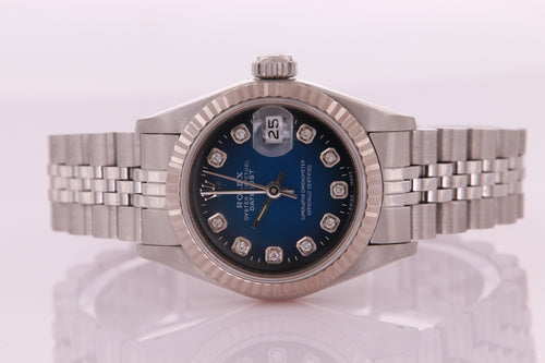 Rolex Datejust Ladies Stainless Steel Blue Vignette Diamond Dial 69174