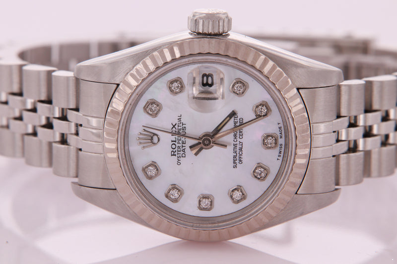 Rolex Datejust Ladies Stainless Steel Mother of Pearl  Diamond Dial 69174