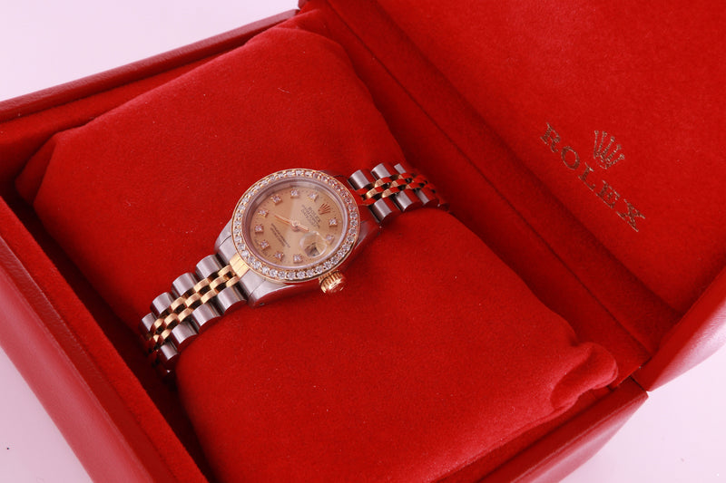 Rolex Datejust Ladies Stainless Steel & Yellow Gold 69173 Diamond Watch