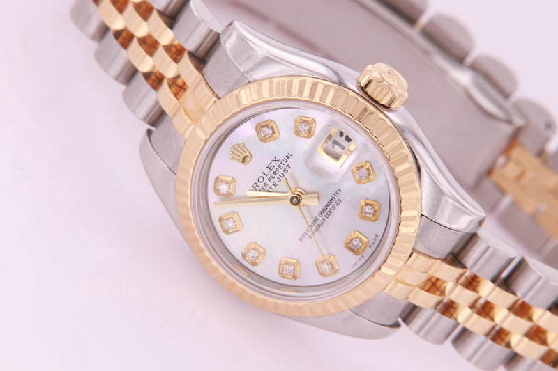 Rolex Datejust Ladies Diamond Watch Stainless Steel and Gold Ref 179173 with Box & Papers