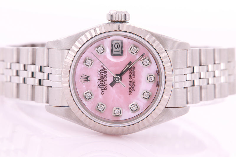 Rolex Datejust Ladies Stainless Steel Automatic Diamond Watch with Rolex Box & Papers