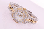 Rolex Datejust Ladies Stainless Steel & Yellow Gold 69173 Diamond Watch Pearl face