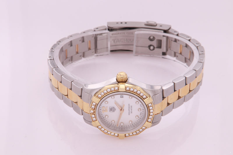 Tag Heuer Aquaracer Stainless Steel and Gold Ladies Diamond Watch WAF1450.BB0825