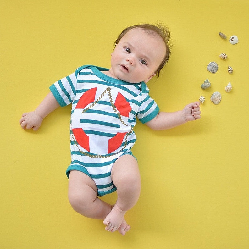 Doodle Pants Teal Stripe Lifesaver Bodysuit