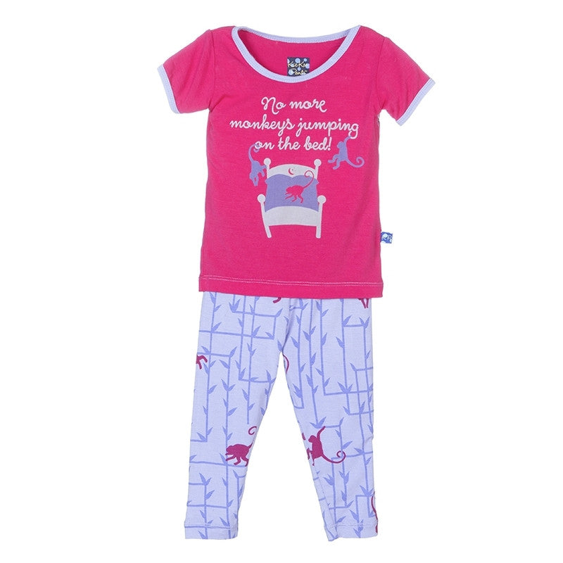 Short Sleeve Pajama Set- Lilac Forest Monkey