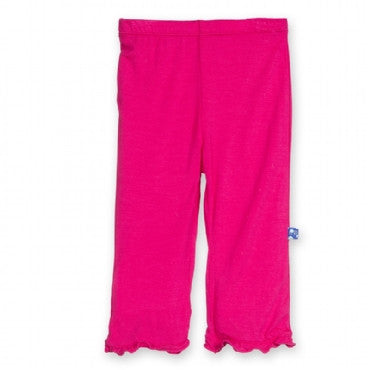 Solid Ruffle Pant- Prickly Pear