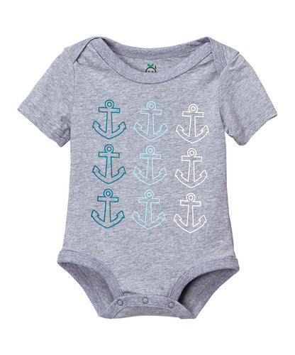 Doodle Pants Multi Colored Gray Anchor Bodysuit