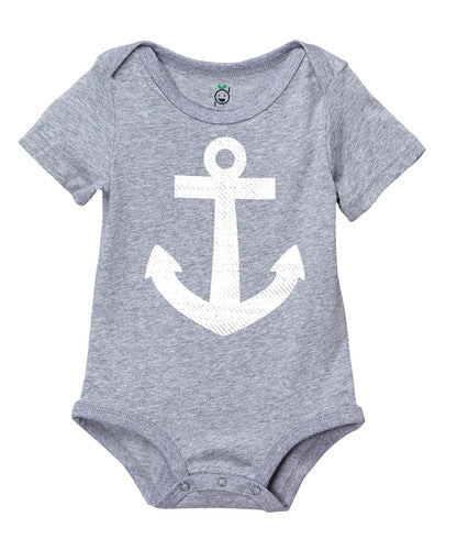 Doodle Pants Grey & White Anchor Bodysuit