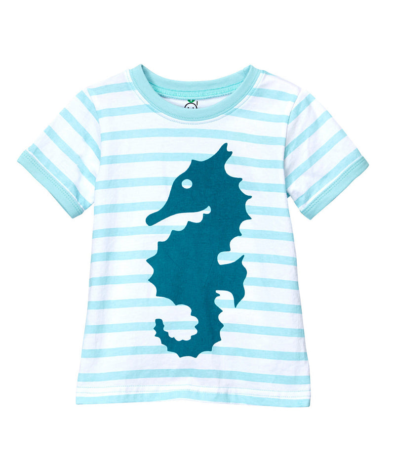 Doodle Pants Light Blue Stripe Seahorse Tee