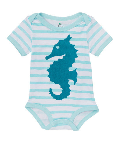 Doodle Pants Light Blue Seahorse Bodysuit