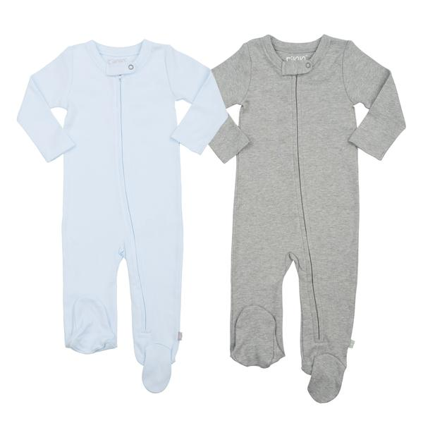 2-piece Zipper Footie Set Blue/ Grey