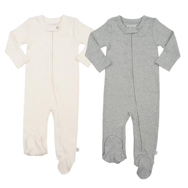 2-piece Zipper Footie Set White/Grey
