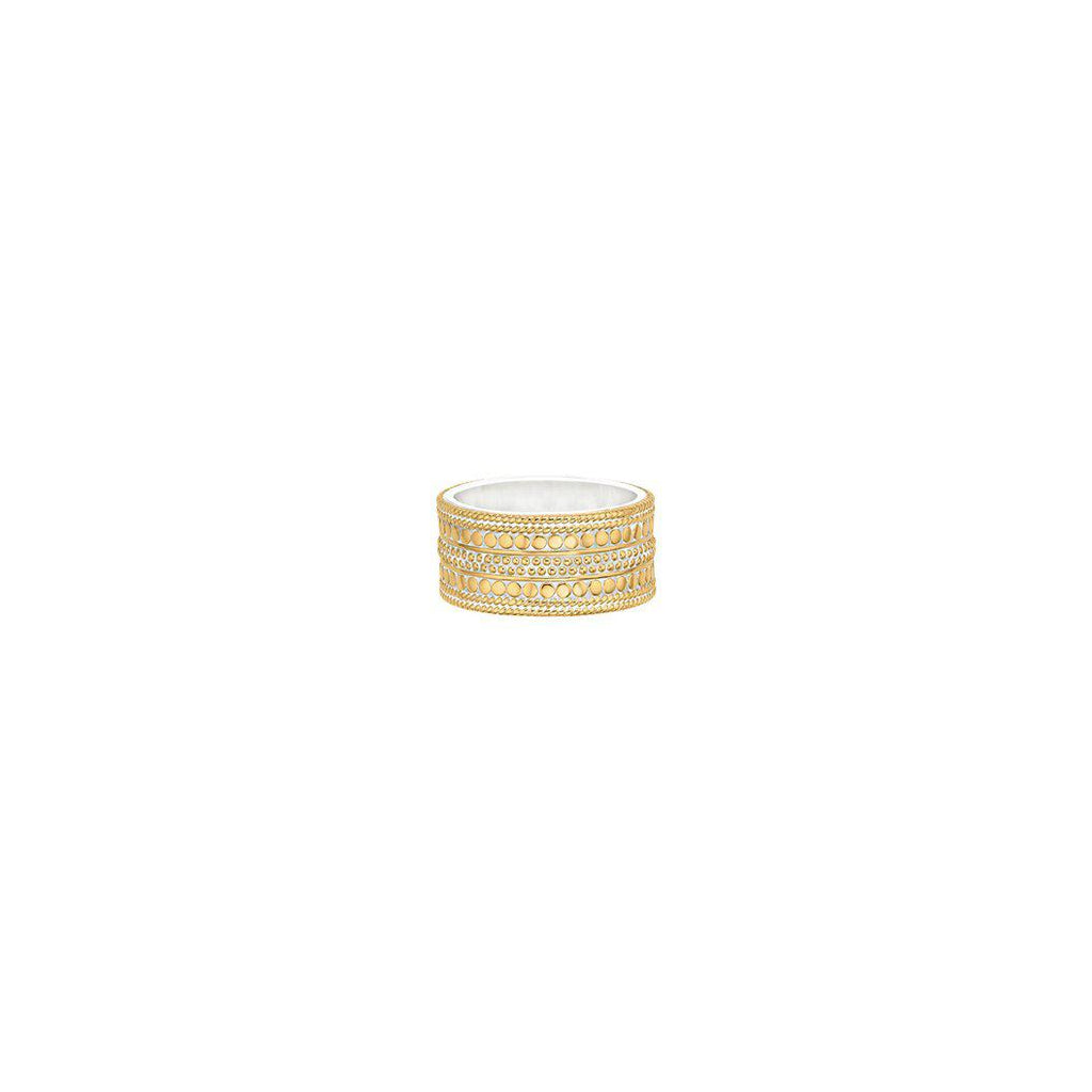 Anna Beck Divided Cigar Band Ring- Gold-Anna Beck Jewelry-Blue Hand Home