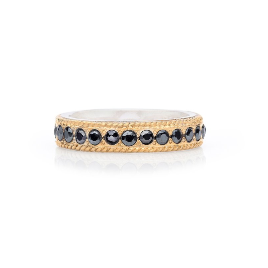 Anna Beck Hematite Pavé Stacking Band - Gold-Blue Hand Home