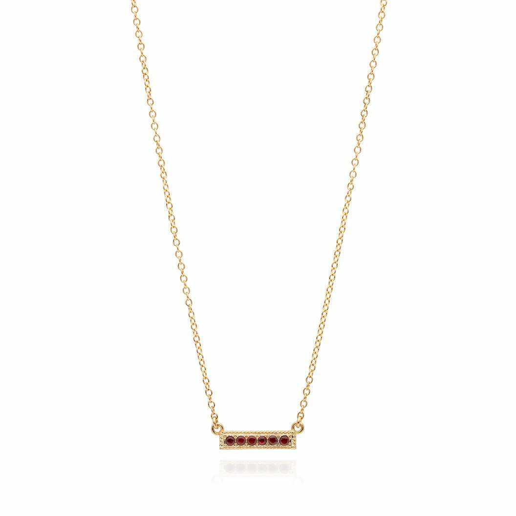 Anna Beck Garnet Pavè Bar Stacking Necklace, Gold