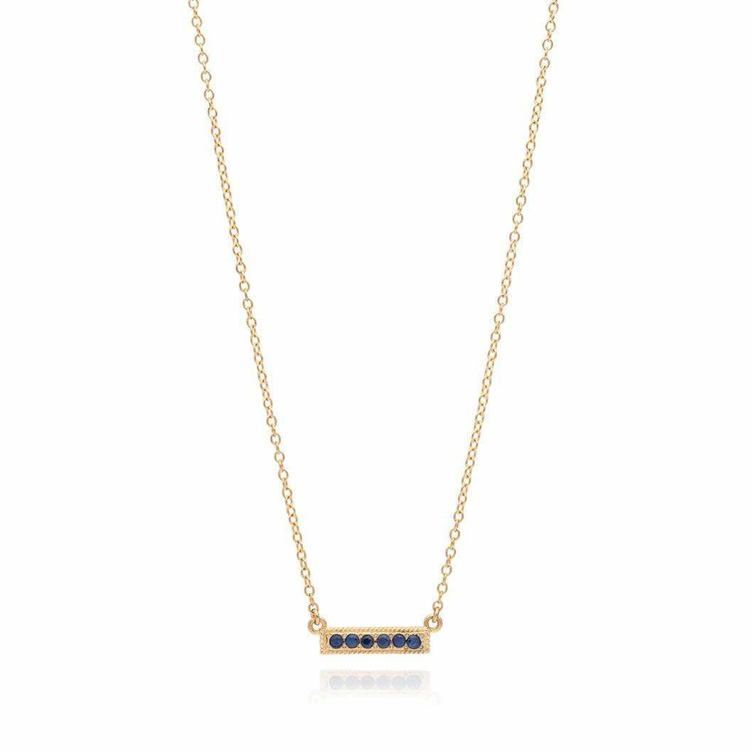 Anna Beck Blue Sapphire Pavè Bar Stacking Necklace, Gold