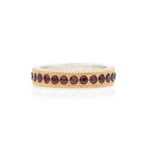 Anna Beck Garnet Pavé Stacking Band - Gold