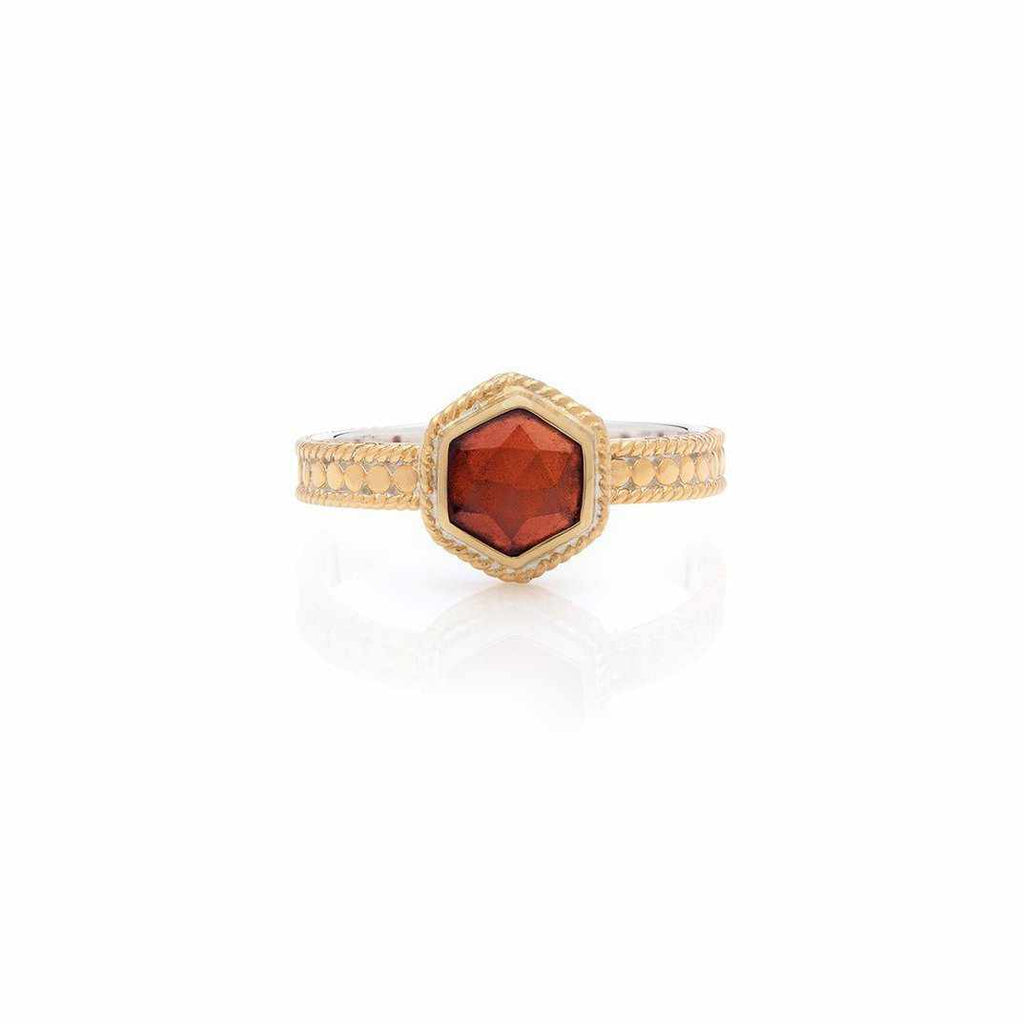 Anna Beck Geo Single Stone Stacking Garnet Ring - Gold-Anna Beck Jewelry-Blue Hand Home