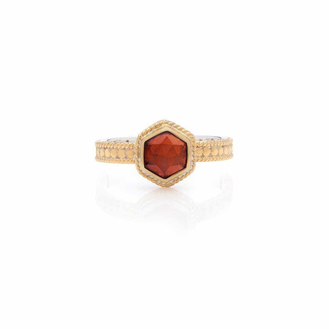 Anna Beck Geo Single Stone Stacking Garnet Ring - Gold